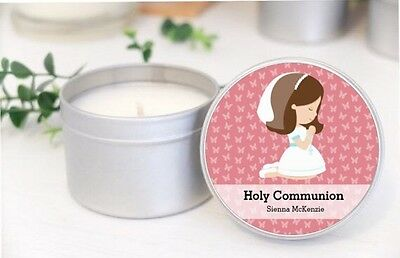 Personalised Holy Communion Soy Candle Tins Favours.