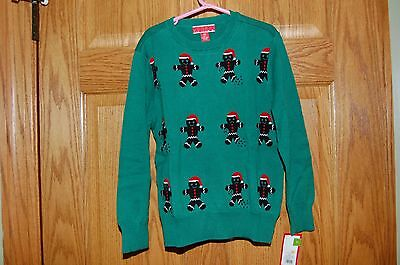 New Holiday Christmas Gingerbread Santa Sweater Green Boys Girls S/P 6/7 Target