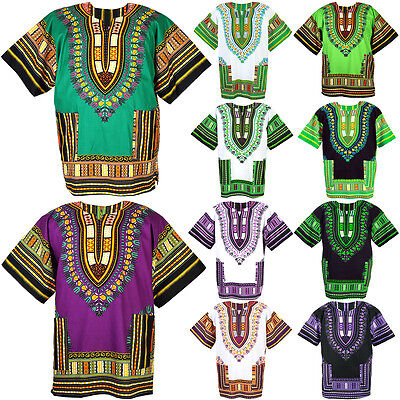 10 Green & Purple Shade Dashiki African Mexican Poncho Shirt Blouse Cotton Var