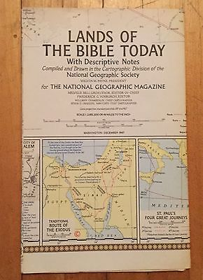 National Geographic Magazine Supplement Map December 1967 Lands of The Bible
