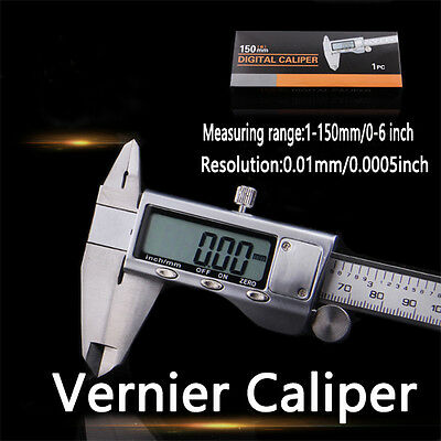 "150mm 6"" Digital Vernier Caliper Stainless Steel LCD Electronic Gauge Case OZ"