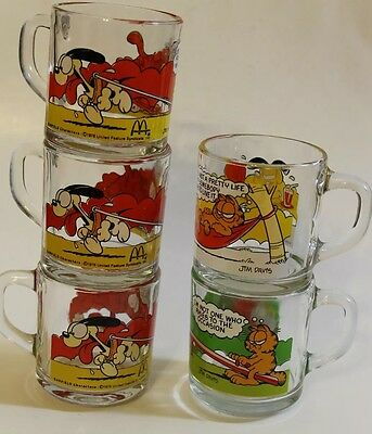 Vintage Garfield Coffee Glass Mug McDonald's Lot Of 5 Made In USA Collectible