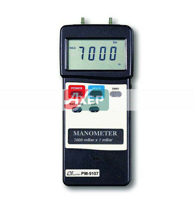LUTRON PM-9107 Digital Manometer Dual&Differential Input 7000mbar Industrial
