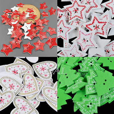 25/50/100x XMAS Christmas Wooden Wood Buttons Sewing Scrapbooking DIY Craft Tool