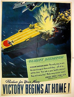 Vintage 1940s WWII Poster Bombing a Japanese Air Carrier Victory Begins at Home!