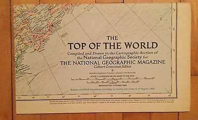 National Geographic Magazine Supplement Map October 1949 The Top Of The World
