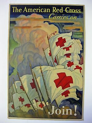 WWII Era The American Red Cross Carries On Join ! Poster  Nice Condition!!
