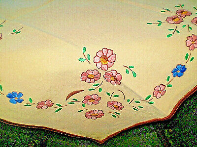 Vintage-Hand-Embroidered-Ivory-Cotton-Tablecloth-with-Multi-Color-Flowers