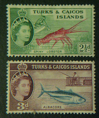 Turks and Caicos Islands Stamps 1957-60 sc#124/125 Lobster/Albacore NM