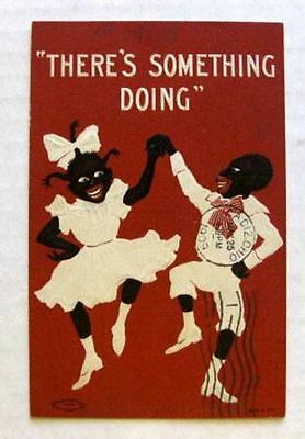 1909 Stereotyped Black Couple Dancing Postcard Theres Something Doing
