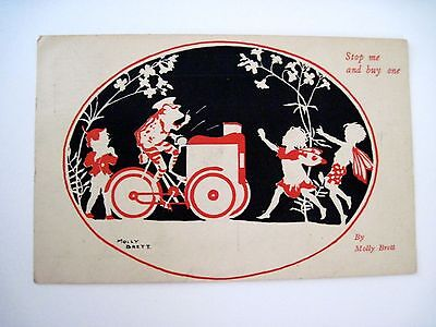"""Vintage """"Molly Brett"""" Postcard w/ Frog on Ice Cream Bike Selling to Gnome *"""