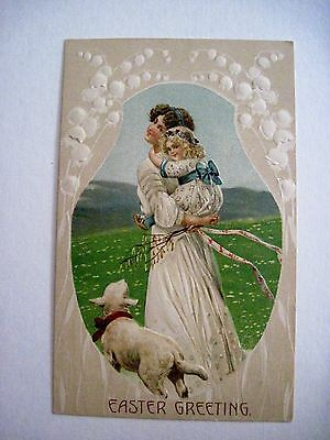 Vintage Easter Postcard w/ Sweet Picture of Mother & Daughter w/ Lamb *