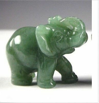 Green Aventurine Jade Stone Craving Lucky elephant Feng Shui statue