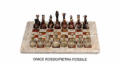 Scacchiera completa Scacchi Pietra Fossile Onice Rosso Marble Chess Set 40x40cm