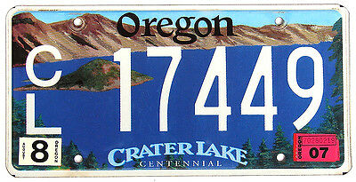 Oregon CRATER LAKE License Plate