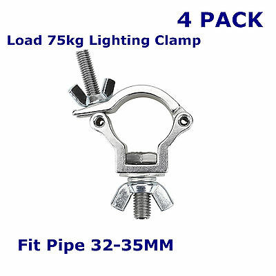 4 PACK Load 75KG O Clamp Heavy Duty Stage Lighting Hook Mount Fit Pipe 32-35MM