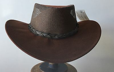 Driza-Bone breeze   hats Kangaroo leather /mesh dark  maroon soft wax oil hat