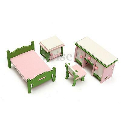 Retro Doll House Miniature Bedroom Wooden Furniture Set Kids Pretend Play Toy