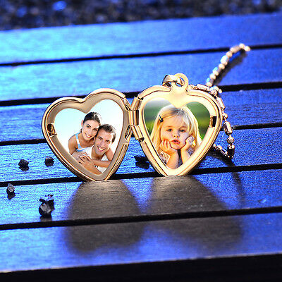 Childrens Kids Girls Baby Locket Heart Frame Pendant Yellow Gold Filled