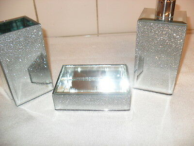 Silver Glitter Bathroom Accessory Soap Dish,Lotion Dispenser, Toothbrush Holder