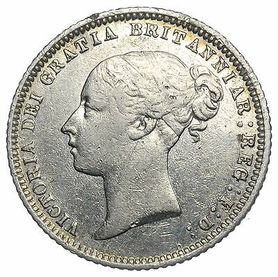 1874 Sixpence - Victoria British Silver Coin - Nice