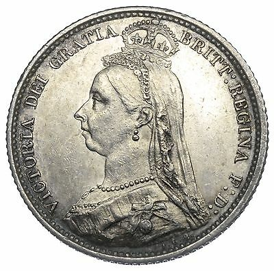 1887 Sixpence (R Over I) - Victoria British Silver Coin - V Nice