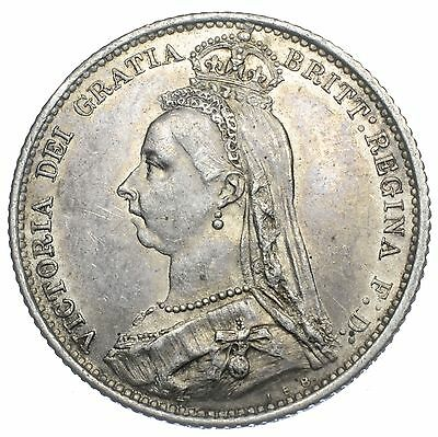 1887 Sixpence - Victoria British Silver Coin - V Nice