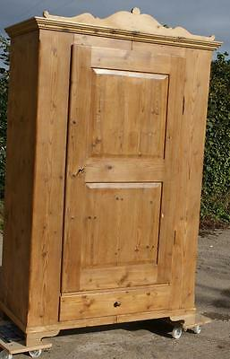 LATE 19th CENTURY  ANTIQUE GERMAN SOLID PINE ARMOIRE  WARDROBE