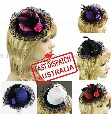 Racing Cocktail Party Costume Race Feather Mini Top Hat Fascinator Clip LACE
