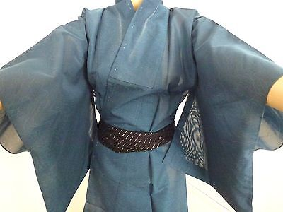 Authentic handmade Japanese summer see through kimono for women,denim blue(I400)