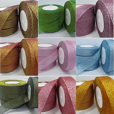 "5 yds 25mm 1"" glitter ribbon Bling wreaths decoration bows craft sparkle #201"