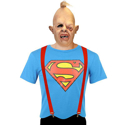 Adults Goonies Sloth Costume Latex Mask Red Braces Superman T-Shirt Halloween