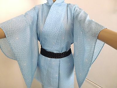 Authentic handmade Japanese summer see through kimono for women,turquoise (I404)