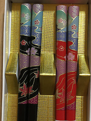 F/S Autumn Leaves on River Natural Beautiful Chopsticks 2 pair made in Japan