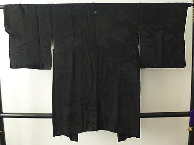 Authentic handmade Japanese black silk Haori jacket for kimono (I406)