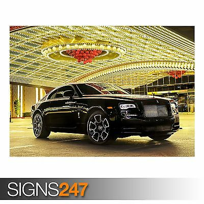 CAR POSTER ROLLS-ROYCE WRAITH BLACK BADGE AA081 Poster Print Art A0 A1 A2 A3