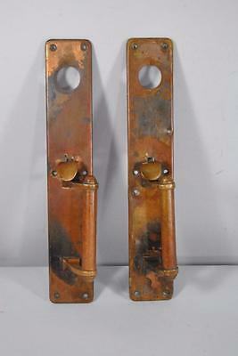 Antique Pair Of Brass Entry Door Hardware Plates Handles W/ Thumb Latch