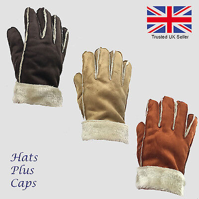Ladies Faux Sheepskin Micro Suede Fur Lined Soft Feel Warm Thermal Gloves