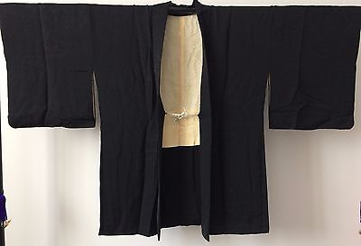 Authentic handmade black silk Japanese Haori jacket for kimono, with himo (I408)