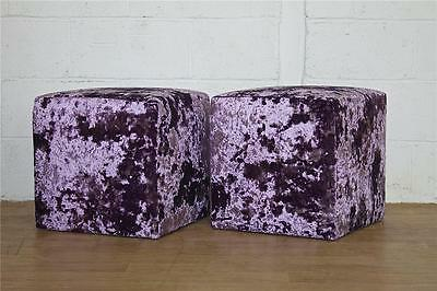 DELIVERY £40 Hand Made UK Heavy Pair Purple Crushed Velvet Cube Stool Seat Chair