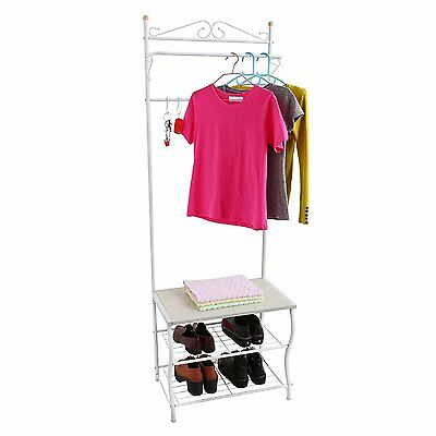 Metal Hat Coat Stand Clothes Rail Stands Shoes Storage Rack Hangers Shelf White