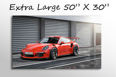 "X Large Canvas Wall Art 50X30"" Red Porsche 911 Gt3 Rs Car Picture Stunning Print"