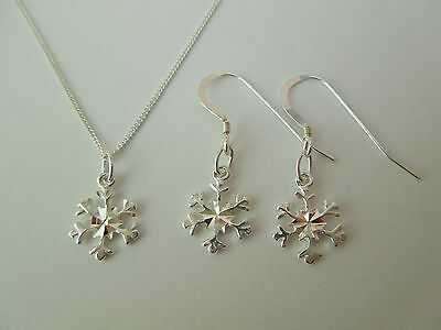 Sterling Silver 925 Snowflake Necklace & Earrings Set Xmas Winter Theme