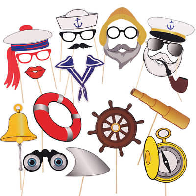 20x Navy Sailor Photo Booth Props Selfie On A Stick Nautical Birthday Party Dec