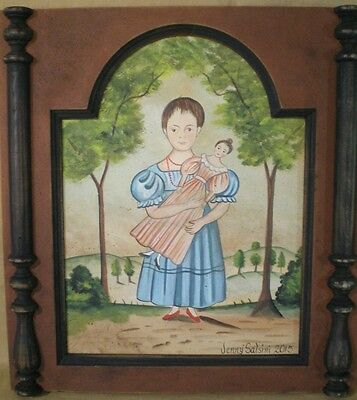 Little girl Primitive Folk art painting-wood frame-Jenny Salsini