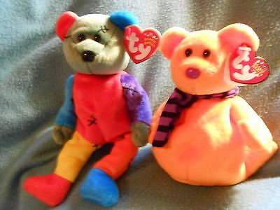 Ty FRANKENTEDDY the Bear (Red & Blue Feet)  & SHIVERS  Mint with mint tags