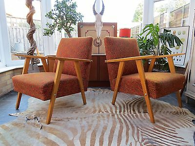 A Pair Of Orange German / Danish Style Cocktail Lounge Armchairs 1970 Oc16/9