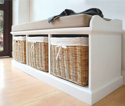 White Shoe Storage Bench Hall Cushion Cabinet Wooden Hallway Seat Wicker Baskets