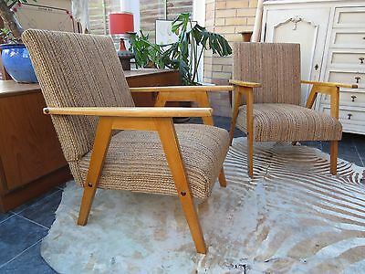 A Pair Of East German / Danish Style Cocktail Lounge Armchairs 1970 Oc16/10