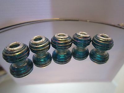 X 5 Glass Charm Beads With Silver Core Stamped 925